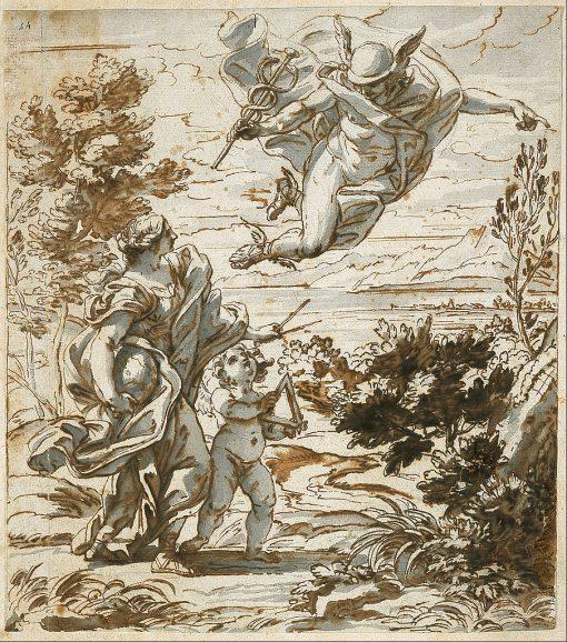Mercury Leading Geography | Giovanni Battista Gaulli | Oil Painting