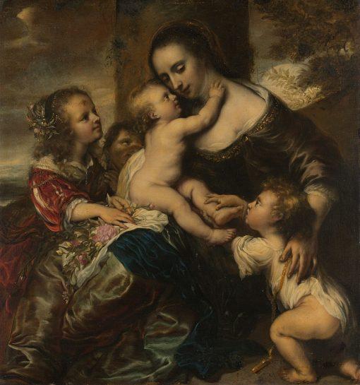 Portrait of a woman with four children | Jurgen Ovens | Oil Painting
