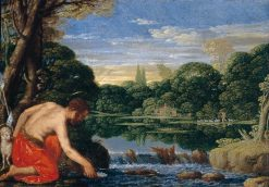 Wooded River Landscape with St John the Baptist | Johann König | Oil Painting