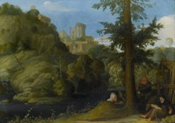 A hermit with two travellers in a wooded landscape | Johann König | Oil Painting