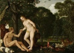 Adam and Eve in Paradise | Johann König | Oil Painting