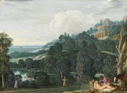 An Extensive Landscape with The Good Samaritan | Johann König | Oil Painting