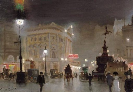 Piccadilly Circus at Night | George Hyde Pownall | Oil Painting