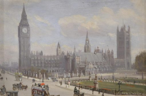 Houses of Parliament and Westminster Hall from Whitehall Corner | George Hyde Pownall | Oil Painting