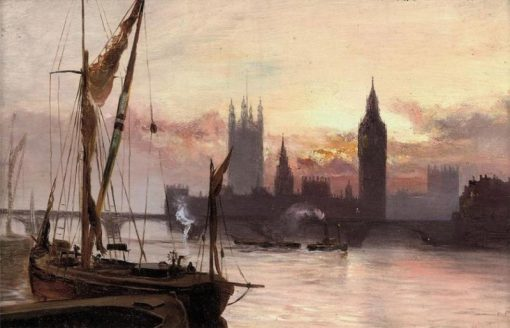 The Houses of Parliament from across the Thames | George Hyde Pownall | Oil Painting