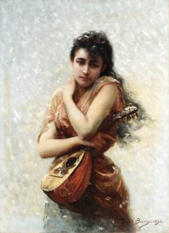 The Mandolin Player | Edouard Bisson | Oil Painting
