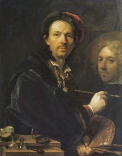 Self-portrait with of sketch of a portrait of Prince Eugene of Savoy   Jan Kupecky   Oil Painting