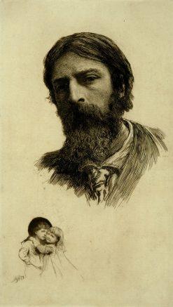 Self Portrait with His Two Children (Elsa and Siegfried)   Hubert von Herkomer   Oil Painting