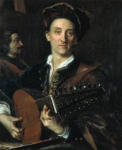 A man playing a lute   Jan Kupecky   Oil Painting