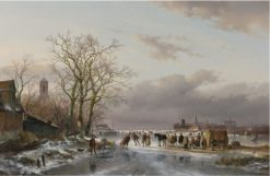 Skaters and a Horse Sledge by a Refreshment Stall | Andreas Schelfhout | Oil Painting