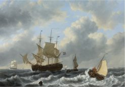 A Threemast and Other Vessels in an Estuary | Johannes Christiaan Schotel | Oil Painting