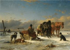 Preparing for the Horse-Drawn Sleigh Ride   Joseph Morenhout   Oil Painting