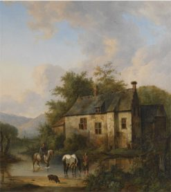 Horses Watering by a Country House | Wouterus Verschuur | Oil Painting