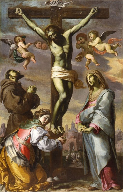 Crucifix with the Virgin and Saints Francis and Agatha | Bernardino Mei | Oil Painting