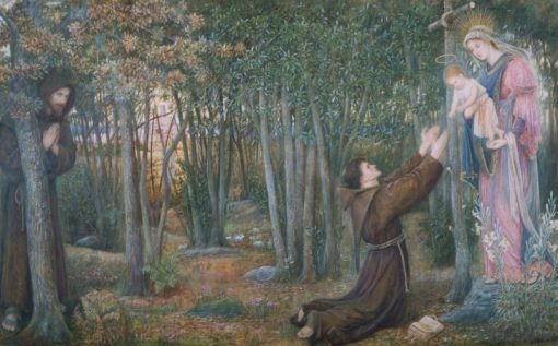 How the Virgin Came to Brother Conrad of Offida and Laid her Son in his Arms | Marie Spartali Stillman | Oil Painting