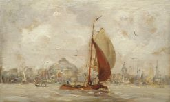 Barge in the Harbor of Amsterdam   Hobbe Smith   Oil Painting