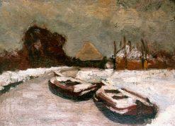 Winter view of a waterside village | Floris Verster | Oil Painting