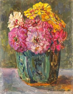Still Life with zinnias in a ginger pot | Floris Verster | Oil Painting