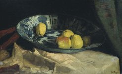 Still life with apples on tray in Delft Blue | Willem de Zwart | Oil Painting