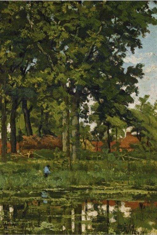 A Figure in a Wooded Landscape | Jacob Maris | Oil Painting