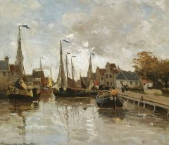 A View of a Small Harbor | Gerhard Munthe | Oil Painting