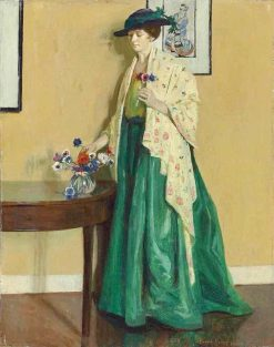 Lady in an interior arranging flowers | Harold Harvey | Oil Painting
