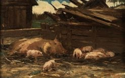 Sow with Piglets | Willem de Zwart | Oil Painting