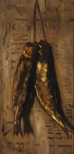 Two smoked herrings on a string | Suze Robertson | Oil Painting