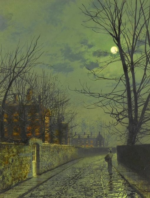 A moonlit street after rain | John Atkinson Grimshaw | Oil Painting
