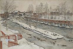 The Timber Chute. Winter scene | Carl Larsson | Oil Painting