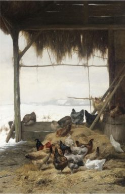 Chickens in a Barn in Winter | Eugène Remy Maes | Oil Painting