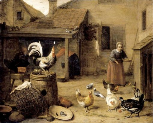 A Court with a Maid Feeding Hens | Hendrik Martensz. Sorgh | Oil Painting