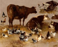 Study of Cows and Chickens | Alexandre Defaux | Oil Painting