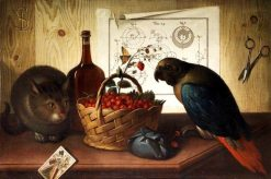 Still life with cat and parrot   Sebastiano Lazzari   Oil Painting