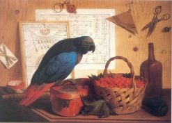 Trompe Loeil with Still Life of Strawberries and a Parrot | Sebastiano Lazzari | Oil Painting