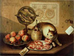 Still Life with Cat   Sebastiano Lazzari   Oil Painting