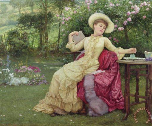 Drinking Coffee And Reading | Edward Killingworth Johnson | Oil Painting