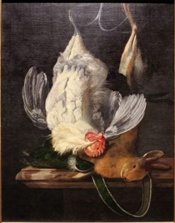 Still Life with White Hen and Hare | Hendrik de Fromantiou | Oil Painting