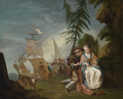 A gallant couple before embarking for Kythera | Jean Baptiste Le Prince | Oil Painting