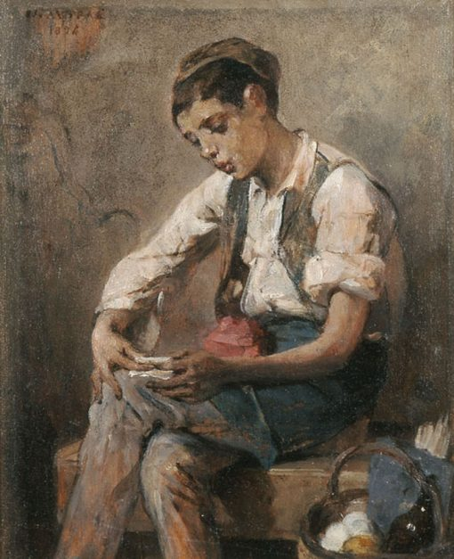 Boy Rolling a Cigarette | Nikiphoros Lytras | Oil Painting