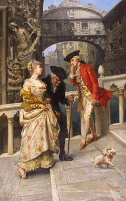 Lovers and Chaperone Meeting on the Venetian Canal | Giacomo Mantegazza | Oil Painting