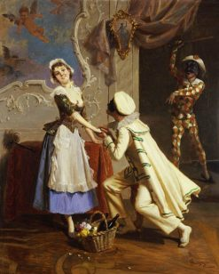 Pierrot and Colombine | Giacomo Mantegazza | Oil Painting