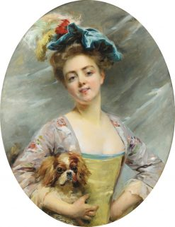Young Woman with a Little Dog | Madeleine Jeanne Lemaire | Oil Painting