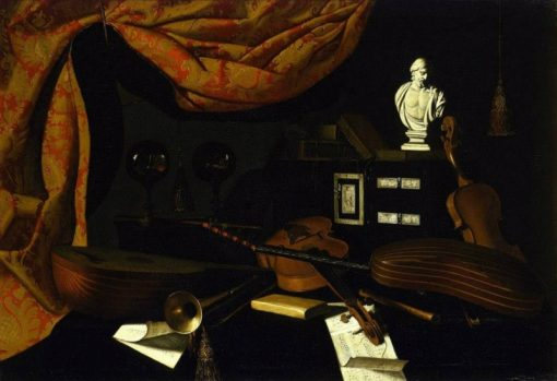 Musical Instruments with Two Glass Spheres and a Male Bust | Bartolomeo Bettera | Oil Painting