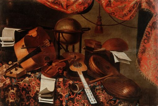 Musical instruments and celestial globe | Bartolomeo Bettera | Oil Painting