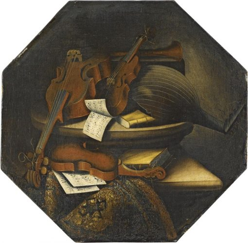 Still-life with musical instruments over a stone ledge | Bartolomeo Bettera | Oil Painting