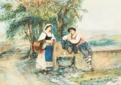 Resting at a Fountain   Maria Martinetti   Oil Painting