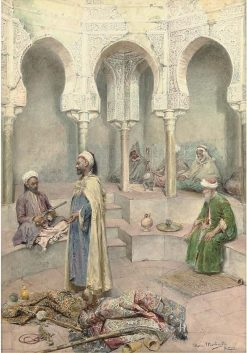 Traders in an Arabic courtyard   Maria Martinetti   Oil Painting