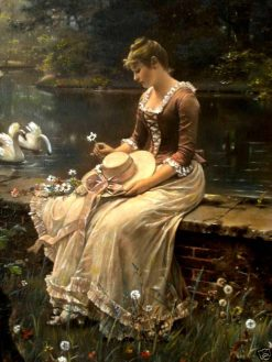 Swans in the Park | Wilhelm Menzler | Oil Painting