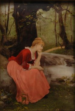 A young lady dreaming in the woods | Wilhelm Menzler | Oil Painting